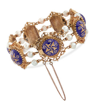C. 1950 Vintage 5mm Cultured Pearl and Blue Enamel Floral Scroll Bracelet in 14kt Yellow Gold. 7""