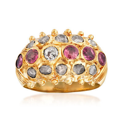 C. 1930 Vintage .70 ct. t.w. Ruby and .62 ct. t.w. Diamond Dome Ring in 18kt Yellow Gold, , default
