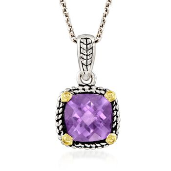 "1.95 Carat Amethyst Pendant Necklace in Sterling Silver and 14kt Gold. 18"", , default"