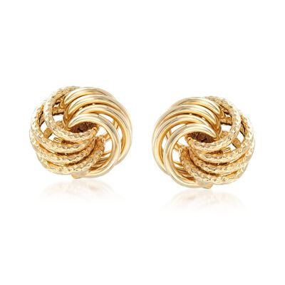 Italian 14kt Yellow Gold Love Knot Stud Earrings, , default