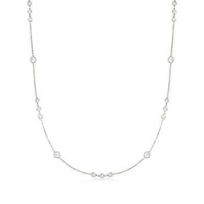 2.10 ct. t.w. Bezel-Set CZ Station Necklace in Sterling Silver