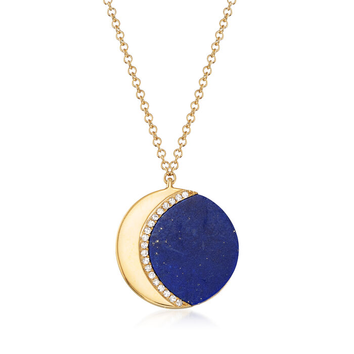 Lapis Crescent Moon Necklace with Diamond Accents in 14kt Yellow Gold, , default