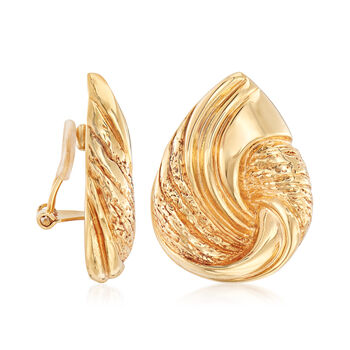 Italian 18kt Yellow Gold Pear-Shaped Knot Clip-On Earrings, , default
