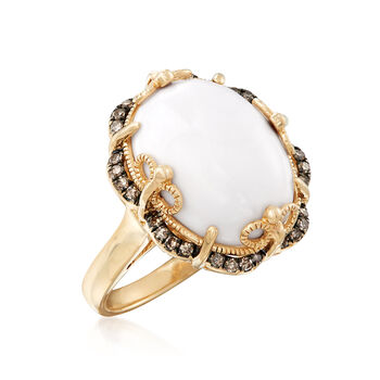 White Agate and .21 ct. t.w. Brown Diamond Frame Ring in 14kt Yellow Gold