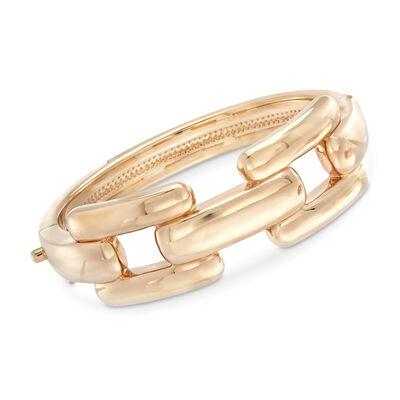 14kt Yellow Gold Oversized Rectangle-Link Bracelet, , default