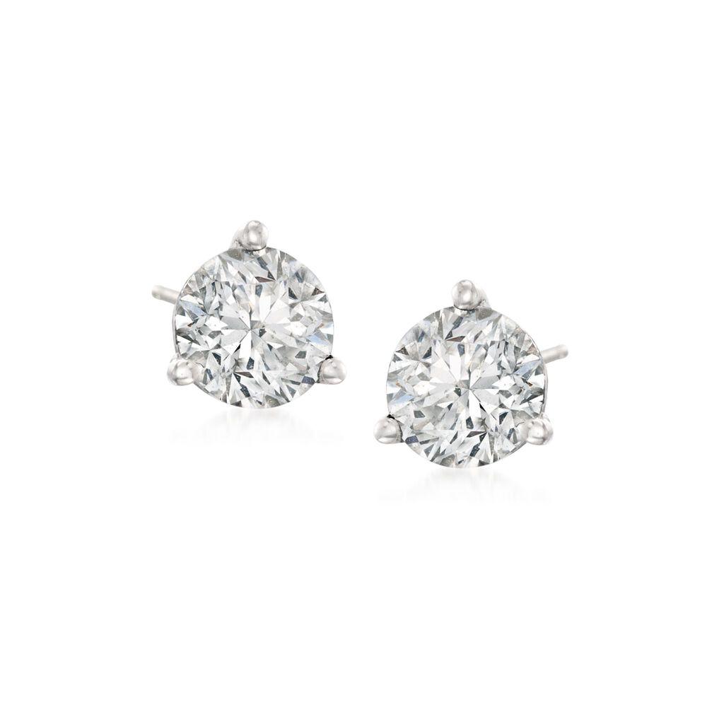 T W Diamond Martini Stud Earrings In Platinum Default