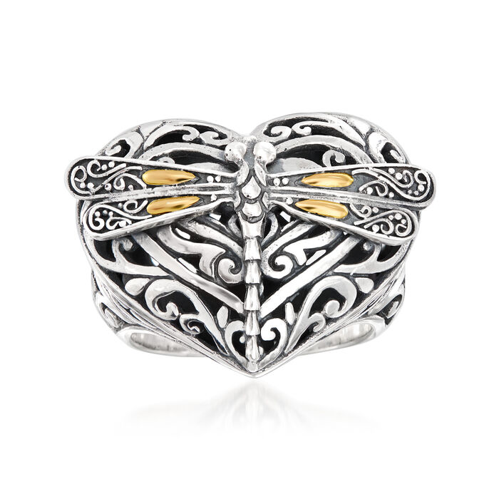 Sterling Silver with 18kt Yellow Gold Dragonfly Heart Ring