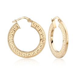 14kt Yellow Gold Textured and Polished Greek Key Hoop Earrings, , default