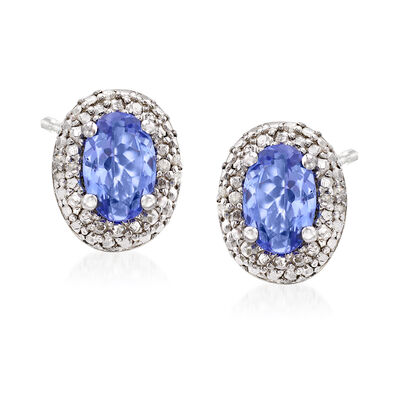 1.00 ct. t.w. Tanzanite and Diamond-Accented Stud Earrings in Sterling Silver, , default