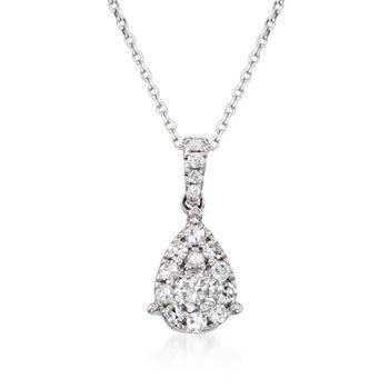 ".50 ct. t.w. Diamond Teardrop Pendant Necklace in 14kt White Gold. 18"", , default"