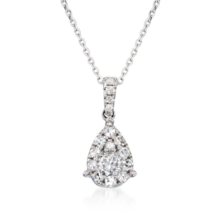 ".50 ct. t.w. Diamond Teardrop Pendant Necklace in 14kt White Gold. 18"", , default"