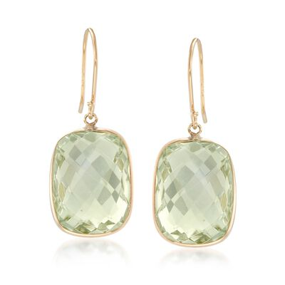 18.00 ct. t.w. Green Prasiolite Drop Earrings in 14kt Yellow Gold