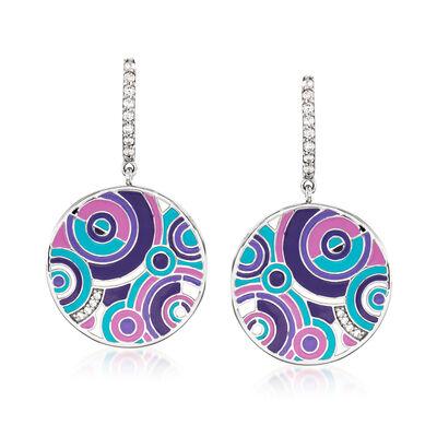"Belle Etoile ""Emanation"" Multicolored Enamel and .22 ct. t.w. CZ Drop Earrings in Sterling Silver, , default"