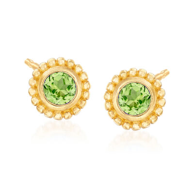 "Phillip Gavriel ""Popcorn"" .50 ct. t.w. Peridot Stud Earrings in 14kt Yellow Gold, , default"