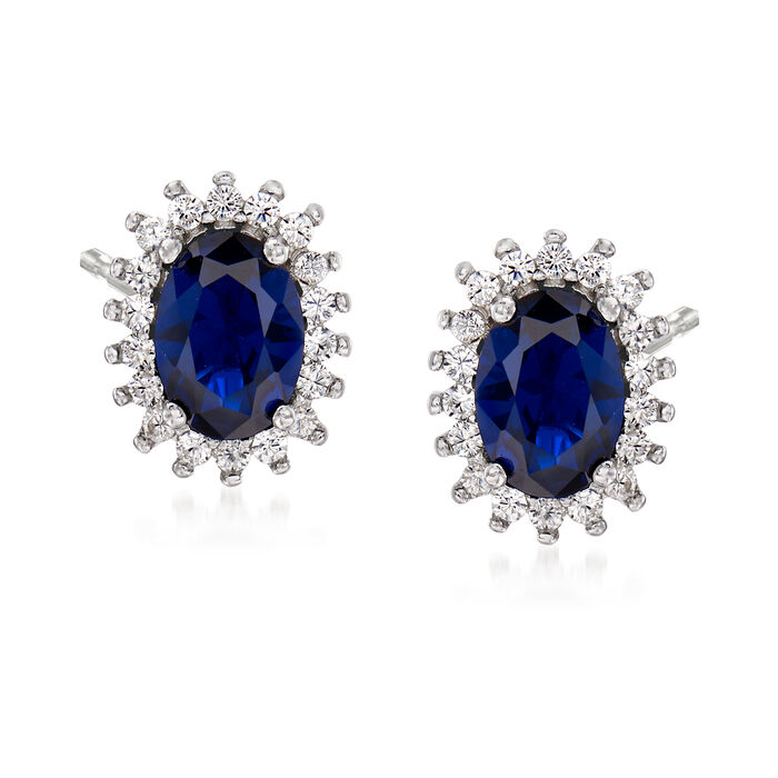 Synthetic Blue Spinel and .20 ct. t.w. CZ Halo Earrings in Sterling Silver
