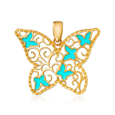 Italian 14kt Yellow Gold and Blue Enamel Cut-Out Butterfly Pendant