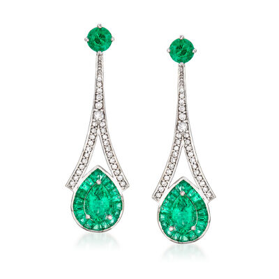 2.60 ct. t.w. Emerald and .36 ct. t.w. Diamond Drop Earrings in 14kt White Gold, , default