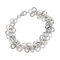 Sterling Silver Multi-Circle Link Bracelet, , default