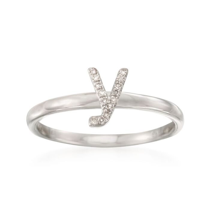 """Diamond Accent Mini Initial """"Y"""" Ring in Sterling Silver"""