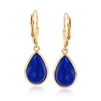 Lapis Teardrop Earrings in 18kt Gold Over Sterling , , default
