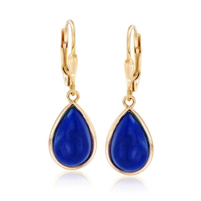 Lapis Teardrop Earrings in 18kt Gold Over Sterling , , default
