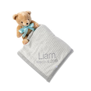 Gray and White Stripe Cotton Baby Blanket, , default