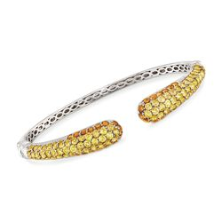 8.10 ct. t.w. Pave Yellow and Orange Citrine Cuff Bracelet in Sterling Silver, , default