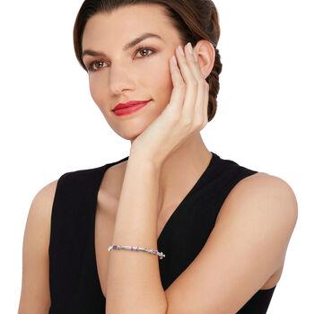 "Andrea Candela ""La Romana"" 1.40 ct. t.w. Amethyst Station Bangle Bracelet in Sterling  and 18kt Gold. 7"""