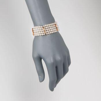 "C. 1970 Vintage 4.5mm Cultured Pearl Bamboo Motif Bracelet in 14kt Yellow Gold. 7"", , default"