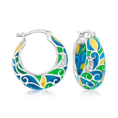 Multicolored Enamel Swirl Hoop Earrings in Sterling Silver