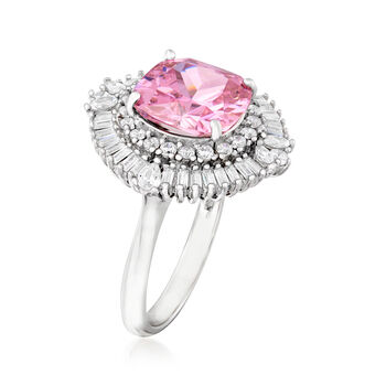 4.25 Carat Pink Simulated Sapphire and .88 ct. t.w. CZ Ring in Sterling Silver, , default