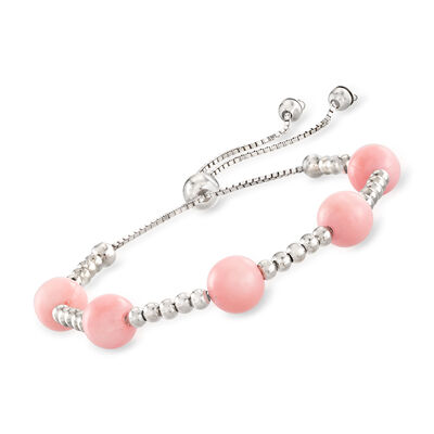 Pink Coral Bead Bolo Bracelet in Sterling Silver