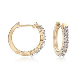 ".24 ct. t.w. Diamond Huggie Hoop Earrings in 14kt Yellow Gold. 1/2"", , default"