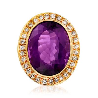 C. 1980 Vintage 29.50 Carat Amethyst and 1.05 ct. t.w. Diamond Ring in 18kt Yellow Gold