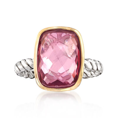 Pink Quartz Ring in 14kt Yellow Gold and Sterling Silver, , default