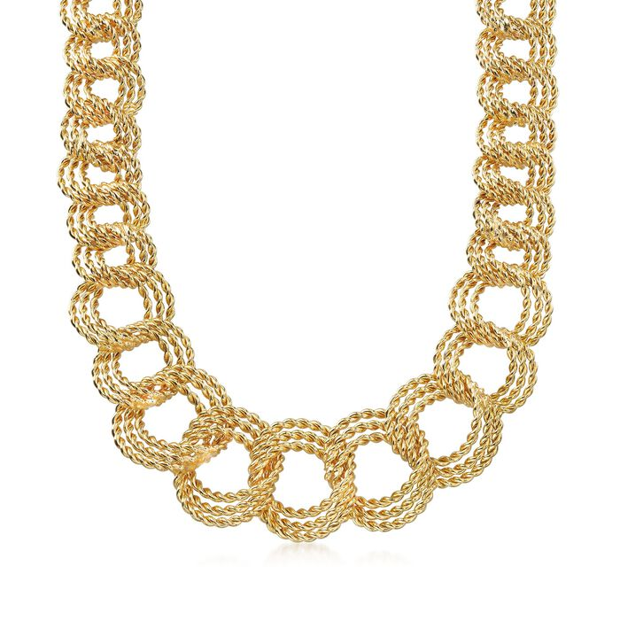 Italian 18kt Gold Over Sterling Graduated Twisted Triple-Link Necklace, , default