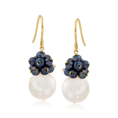 3-10.5mm Black and White Cultured Pearl Cluster Drop Earrings in 14kt Yellow Gold, , default