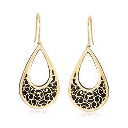 Italian Black Onyx and 14kt Yellow Gold Scrollwork Drop Earrings, , default