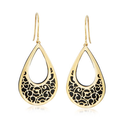 Italian Black Onyx and 14kt Yellow Gold Scrollwork Drop Earrings, , default