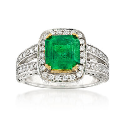 C. 2000 Vintage 2.40 Carat Emerald and 1.00 ct. t.w. Diamond Ring in 14kt Two-Tone Gold, , default