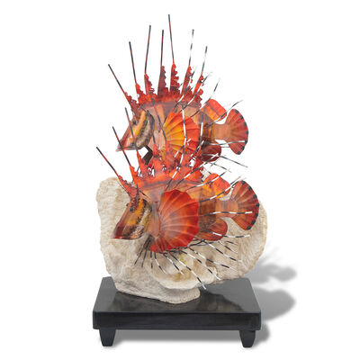 T.I. Design Staineless Steel Lion Fish Table Sculpture with Base, , default