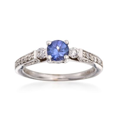 C. 2000 Vintage .61 Carat Tanzanite and .40 ct. t.w. Diamond Ring in 18kt White Gold, , default