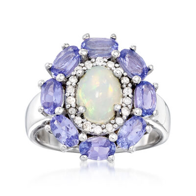 Opal and 2.00 ct. t.w. Tanzanite Ring Ring with .21 ct. t.w. Diamonds in Sterling Silver