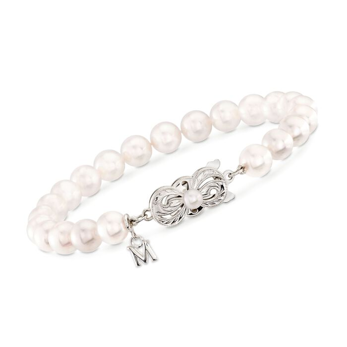 """Mikimoto 6.5-7mm 'A' Akoya Pearl Bracelet in 18kt White Gold. 7"""", , default"""