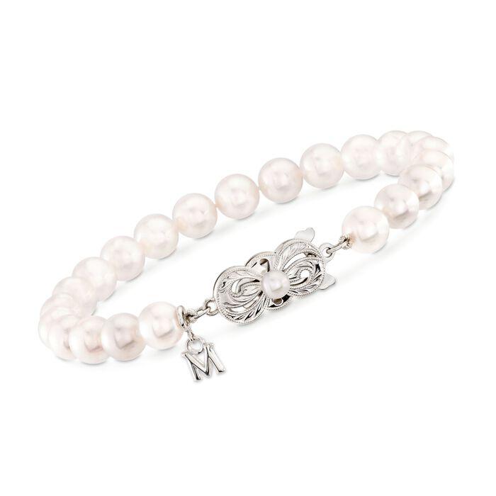 "Mikimoto 6.5-7mm 'A' Akoya Pearl Bracelet in 18kt White Gold. 7"""
