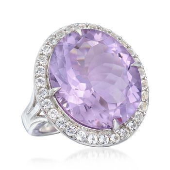 15.00 Carat Amethyst and 1.20 ct. t.w. White Topaz Ring in Sterling Silver, , default