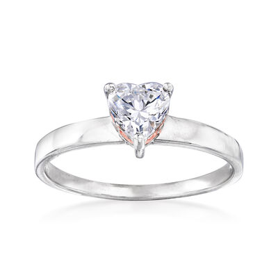 .76 ct. t.w. CZ Heart-Shaped Ring in Sterling Silver, , default