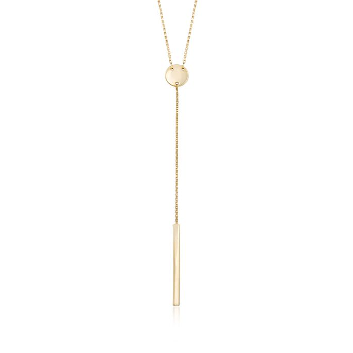 """14kt Yellow Gold Round Disc with Linear Bar Y-Necklace. 16"""""""