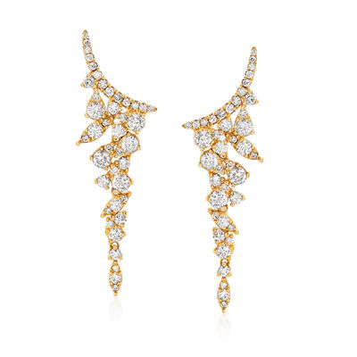 1.20 ct. t.w. Diamond Ear Climbers in 18kt Yellow Gold, , default