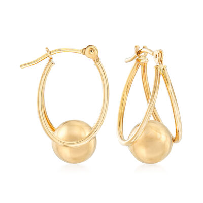 14kt Yellow Gold Double Oval Hoop Earrings with Bead, , default